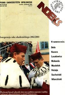 Indeks : pismo Uniwersytetu Opolskiego. 2002, nr 5-6 (35-36)