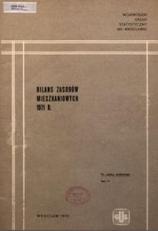 Bilans zasobów mieszkaniowych, 1971 r.