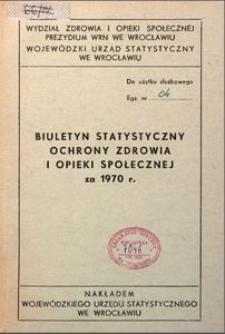 Biuletyn statystyczny ochrony zdrowia i opieki społecznej za 1970 r.