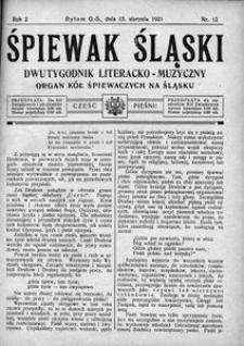 Śpiewak Śląski, 1921, R. 2, nr 12