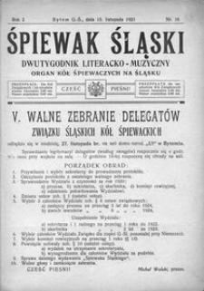 Śpiewak Śląski, 1921, R. 2, nr 16