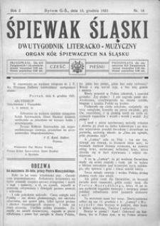 Śpiewak Śląski, 1921, R. 2, nr 18