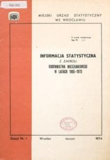Informacja statystyczna z zakresu budownictwa mieszkaniowego w latach 1965-1973