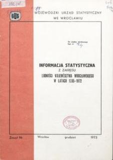 Informacja statystyczna z zakresu ludności województwa wrocławskiego w latach 1965-1972