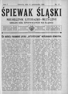 Śpiewak Śląski, 1922, R. 3, nr 15