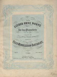 Sechs lieder ohne Worte für das Pianoforte. Heft 5, Op. 62