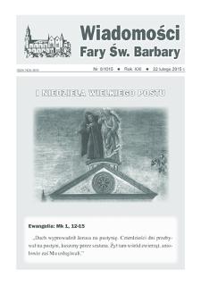 Wiadomości Fary Św. Barbary, 2015, R.21, nr8 (1015)