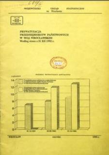 Prywatyzacja przedsiębiorstw państwowych w województwie wrocławskim według stanu w dniu 31 XII 1992 r.