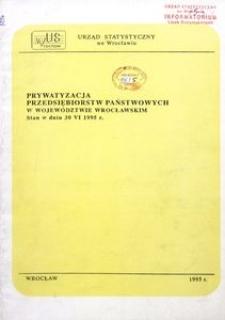 Prywatyzacja przedsiębiorstw państwowych w województwie wrocławskim. Stan w dniu 30 VI 1995 r.