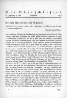 Der Oberschlesier, 1932, Jg. 14, Heft 9