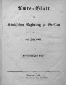 Sach-Register oder Alphabetische Darstellung der in dem Amts-Blatte der Königlichen Regierung zu Breslau vom Jahre 1863 enthaltenen Verordnungen und Bekanntmachungen