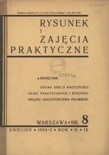 Rysunek i Zajęcia Praktyczne : Organ Sekcji Nauczycieli Zajęć Praktycznych i Rysunku Związku Nauczycielstwa Polskiego, 1935, R.9(2), Nr 8 - kwiecień