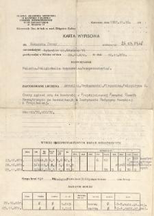 Karta wypisowa z diagnozą malarii, 10 XI 1987