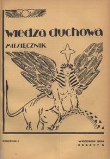 Wiedza Duchowa, 1934, R. 1, z. 9