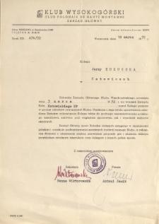 Uchwała ZG Klubu Wysokogórskiego o przyjęciu J. Kukuczki w poczet członków, 3 III 1972