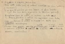 Brudnopis listu w języku włoskim, niedatowany