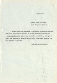Kopia listu Jerzego Kukuczki do Prezesa Rady Ministrów Zbigniewa Messnera, 21 X 1987