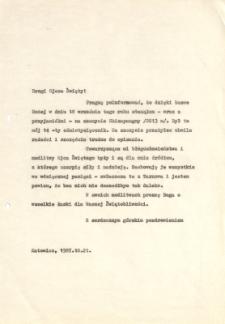 Kopia listu Jerzego Kukuczki do papieża Jana Pawła II po zdobyciu Shisha Pangma,21 X 1987