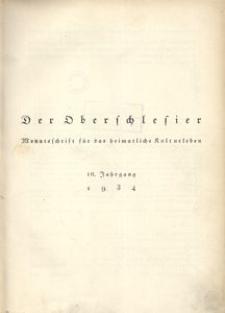 Der Oberschlesier, 1934, Jg. 16, Inhaltsverzeichnis