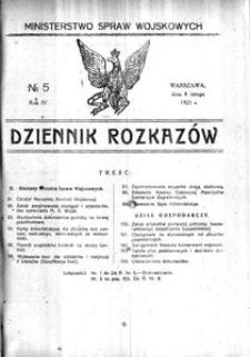 Dziennik Rozkazów, 1921, R. 4, nr 5