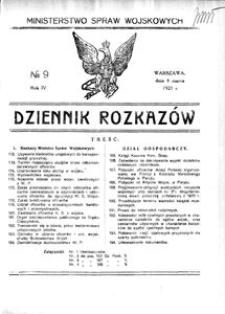 Dziennik Rozkazów, 1921, R. 4, nr 9