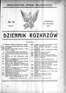 Dziennik Rozkazów, 1921, R. 4, nr 14