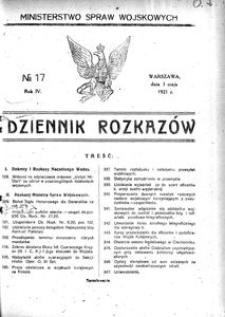 Dziennik Rozkazów, 1921, R. 4, nr 17