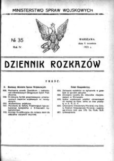 Dziennik Rozkazów, 1921, R. 4, nr 35