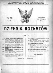 Dziennik Rozkazów, 1921, R. 4, nr 45