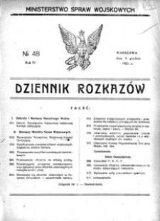 Dziennik Rozkazów, 1921, R. 4, nr 48