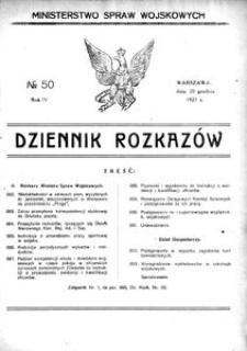 Dziennik Rozkazów, 1921, R. 4, nr 50