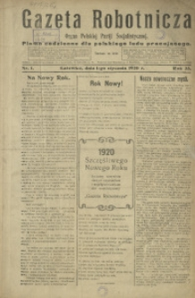 Gazeta Robotnicza, 1920, R. 25, nr 1