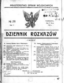 Dziennik Rozkazów, 1922, R. 5, nr 28