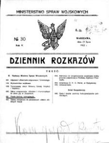 Dziennik Rozkazów, 1922, R. 5, nr 30