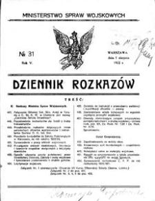 Dziennik Rozkazów, 1922, R. 5, nr 31