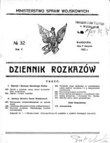 Dziennik Rozkazów, 1922, R. 5, nr 32