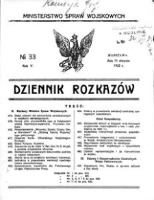 Dziennik Rozkazów, 1922, R. 5, nr 33