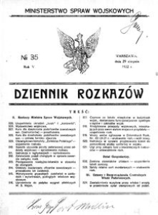 Dziennik Rozkazów, 1922, R. 5, nr 35