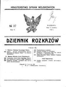 Dziennik Rozkazów, 1922, R. 5, nr 37