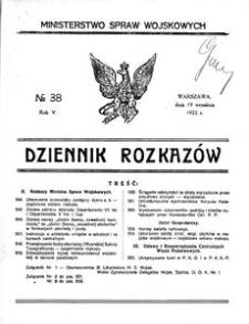 Dziennik Rozkazów, 1922, R. 5, nr 38