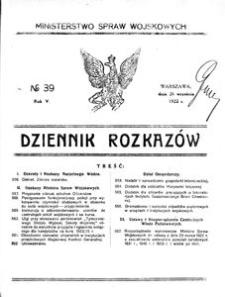 Dziennik Rozkazów, 1922, R. 5, nr 39