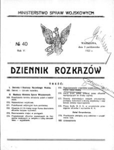 Dziennik Rozkazów, 1922, R. 5, nr 40