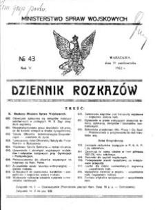 Dziennik Rozkazów, 1922, R. 5, nr 43