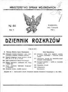 Dziennik Rozkazów, 1922, R. 5, nr 44