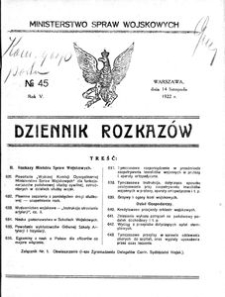 Dziennik Rozkazów, 1922, R. 5, nr 45