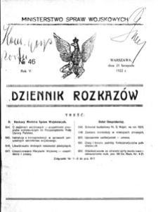 Dziennik Rozkazów, 1922, R. 5, nr 46