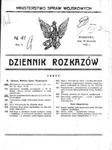 Dziennik Rozkazów, 1922, R. 5, nr 47