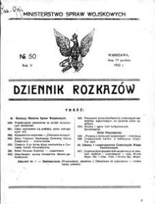 Dziennik Rozkazów, 1922, R. 5, nr 50
