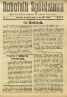 Robotnik Spółdzielca, 1925, R. 1, nr 1