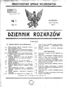 Dziennik Rozkazów, 1923, R. 6, nr 1